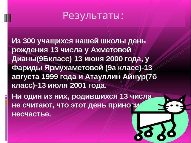 Из 300 учащихся нашей школы день рождения 13 числа у Ахметовой Дианы(9Бкласс...