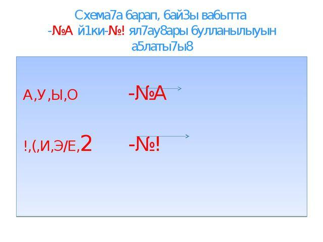Схема7а 6арап, 6ай3ы ва6ытта -№А й1ки-№! ял7ау8ары 6улланылыуын а5латы7ы8 А,У...
