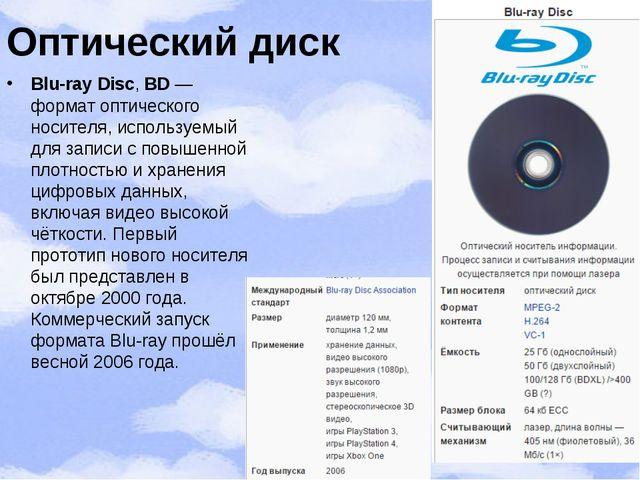 Оптический диск Blu-ray Disc,BD— форматоптического носителя, используемый...