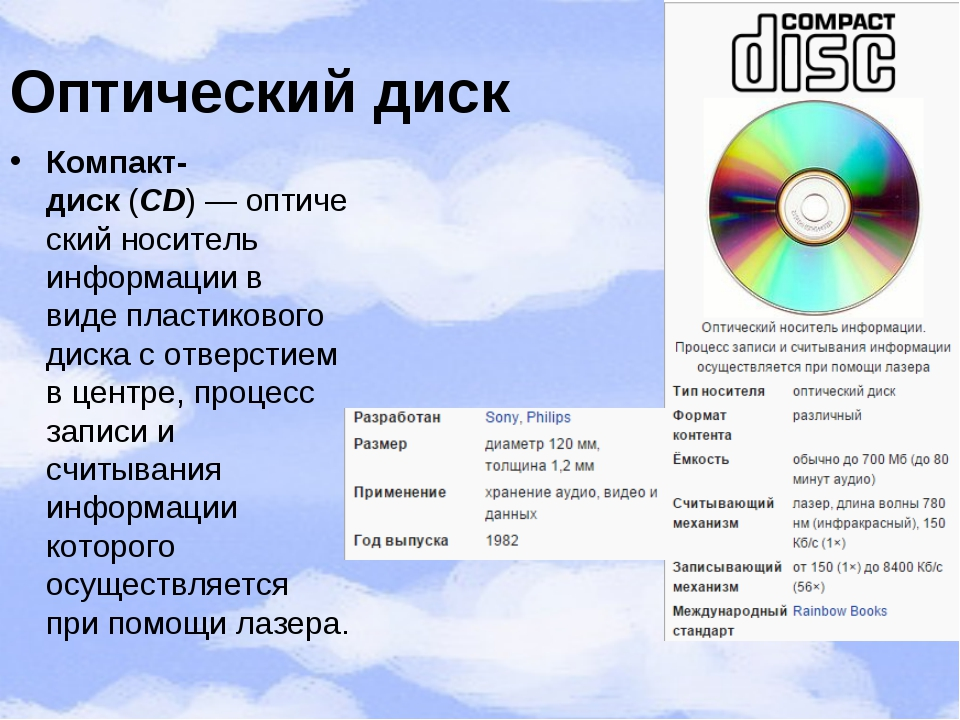Оптический диск Компакт-диск(CD)—оптическийноситель информациив видепла...