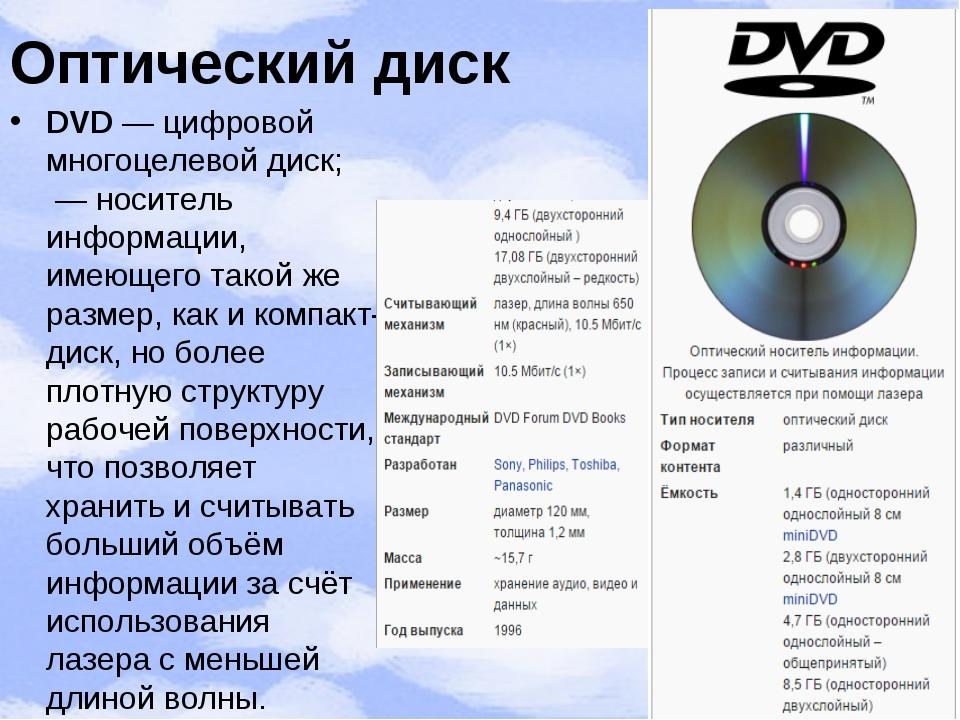 Оптический диск DVD— цифровой многоцелевой диск; —носитель информации, име...