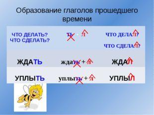 Образование глаголов прошедшего времени ЧТО ДЕЛАТЬ? ЧТО СДЕЛАТЬ? ТЬ+Л ЧТО ДЕЛ