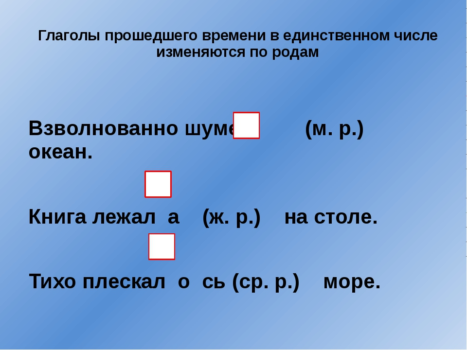 Глаголы прошедшего времени в единственном числе изменяются по родам Взволнов...