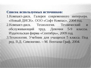 Список используемых источников: Компакт-диск. Галерея современного интерьера