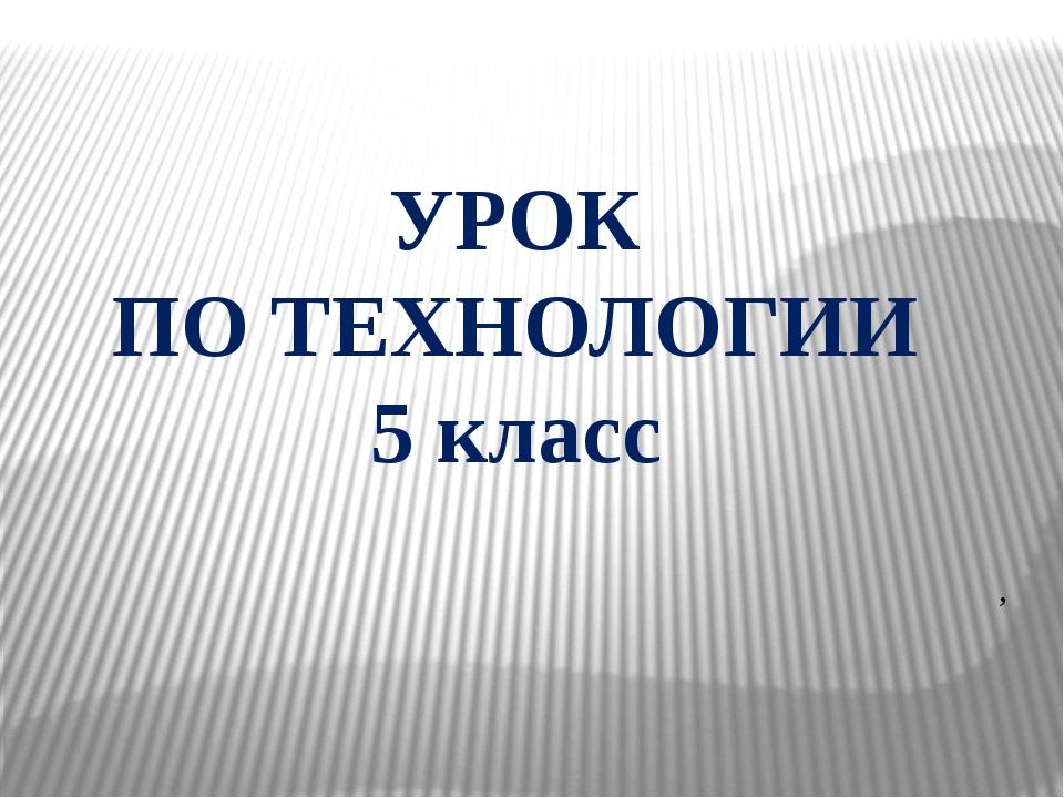 УРОК ПО ТЕХНОЛОГИИ 5 класс ,