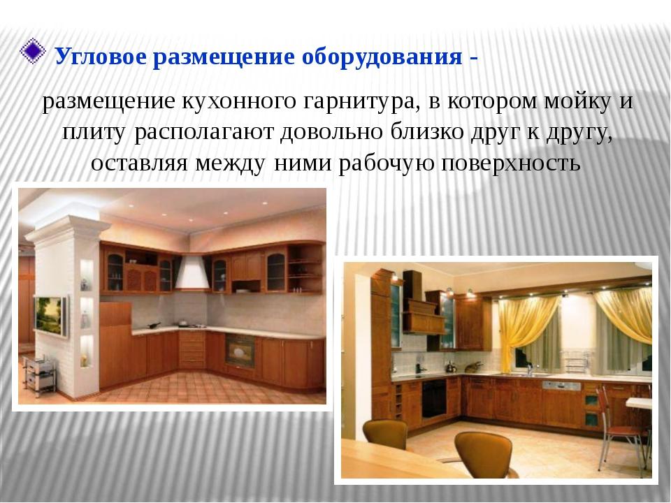 размещение кухонного гарнитура, в котором мойку и плиту располагают довольно...