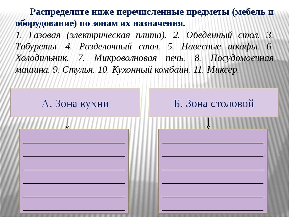 Распределите ниже перечисленные предметы (мебель и оборудование) по зонам их...