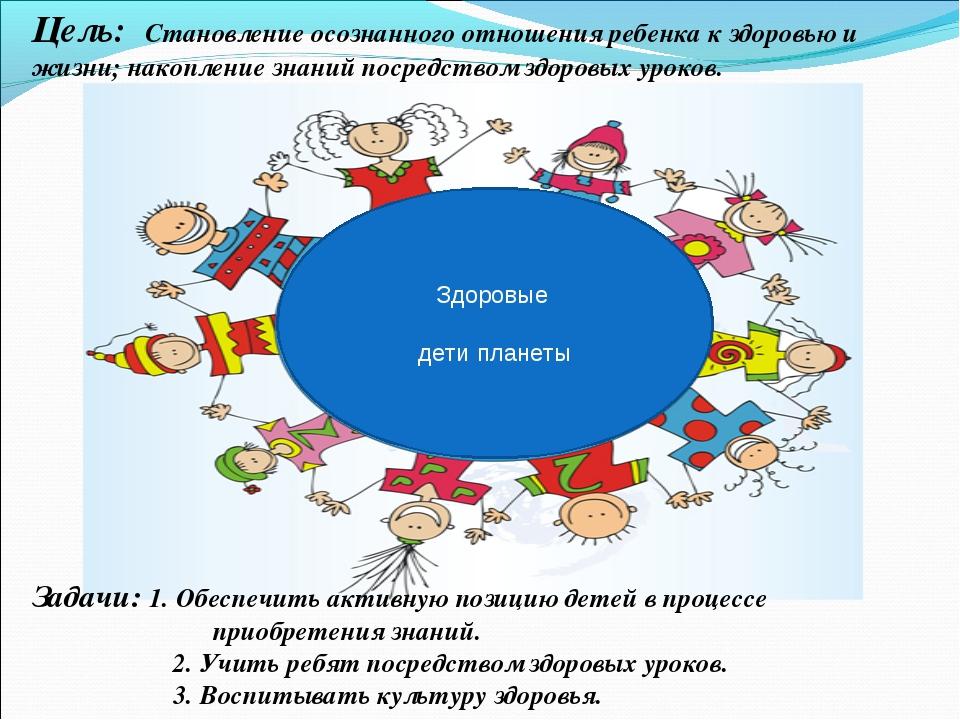 Цель: Становление осознанного отношения ребенка к здоровью и жизни; накоплени...