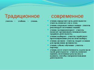 Традиционное современное учитель → учебник → ученик. ученикопредел