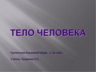 Презентация Ворониной Марии , 2 «Б» класс Учитель: Куприкова Л.В.