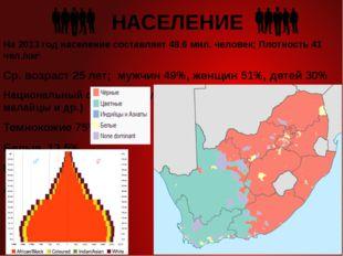 НАСЕЛЕНИЕ На 2013 год население составляет 48,6 мил. человек; Плотность 41 че