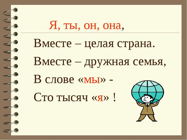 Я, ты, он, она, Вместе – целая страна. Вместе – дружная семья, В слове «мы»...