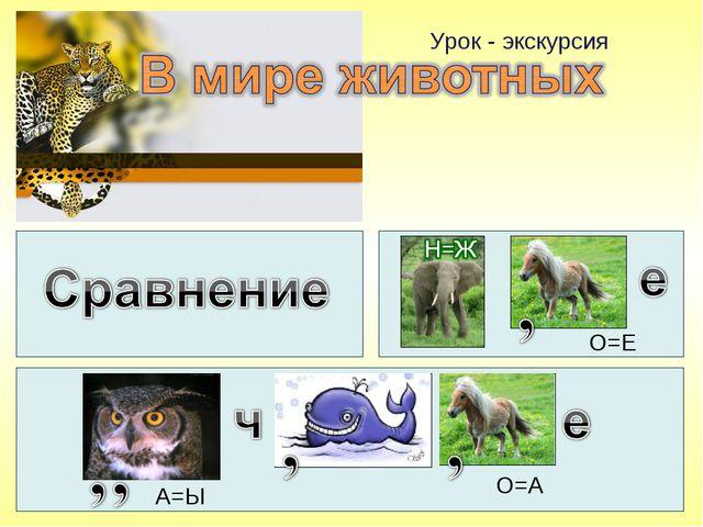 Урок - экскурсия О=Е А=Ы О=А
