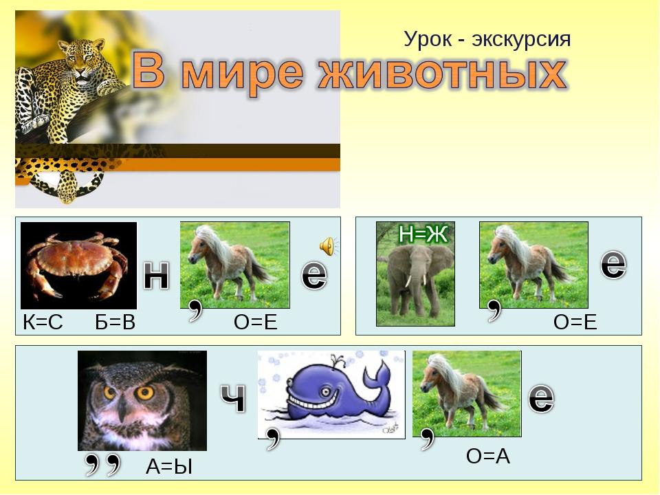 Урок - экскурсия К=С Б=В О=Е О=Е А=Ы О=А
