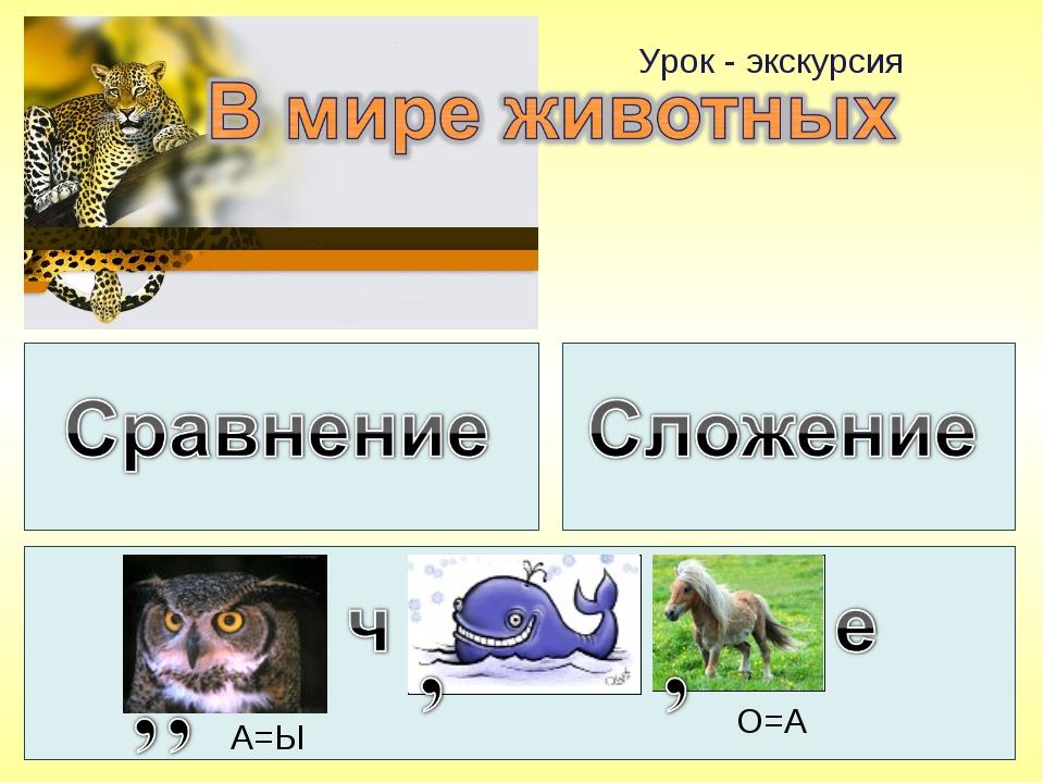 Урок - экскурсия А=Ы О=А
