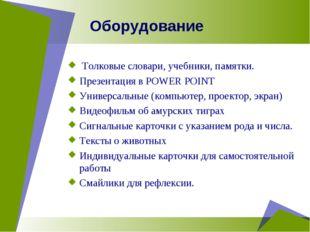 Оборудование Толковые словари, учебники, памятки. Презентация в POWER POINT У