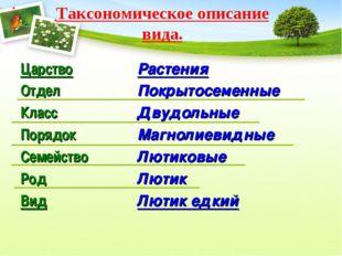 Таксономическое описание вида. Царство Отдел Класс Порядок Семейство Род Вид