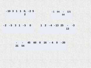 - 10 3 1 1 0,2 - 2 5 - 2 - 5 3 1 - 5 0 1 2 - 4 - 13 25 - 13 -3 - 1 64 - 64 12
