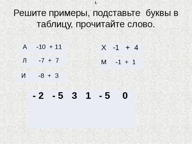 Решите примеры, подставьте буквы в таблицу, прочитайте слово. I. А -10 + 11 Л...