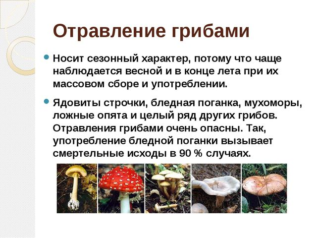 Отравление грибами Носит сезонный характер, потому что чаще наблюдается весно...