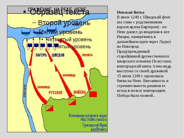Невская битва В июле 1240 г. Шведский флот (во главе с родственником короля я...