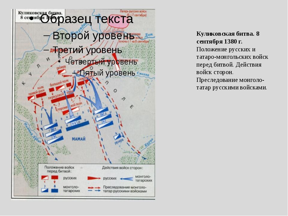 Куликовская битва. 8 сентября 1380 г. Положение русских и татаро-монгольских...