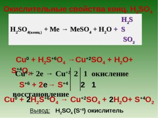 Окислительные свойства конц. H2SO4 Cu0 + H2S+6O4 →Cu+2SO4 + H2О+ S+4O2 H2S H2