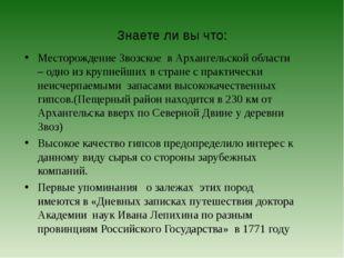 Знаете ли вы что: Месторождение Звозское в Архангельской области – одно из кр