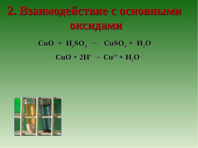 2. Взаимодействие с оcновными оксидами CuO + H2SO4 → CuSO4 + H2O CuO + 2H+ →...
