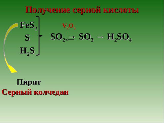 Получение серной кислоты V2O5 H2S S FeS2 SO2 → SO3 → H2SO4 Пирит Серный колче...