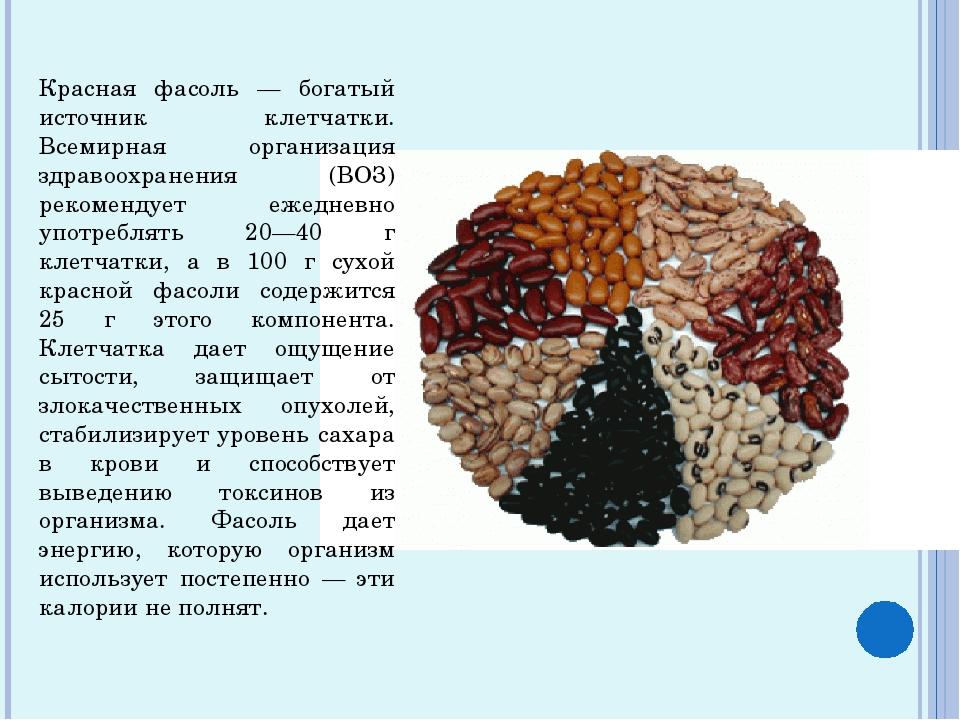 Красная фасоль — богатый источник клетчатки. Всемирная организация здравоохра...