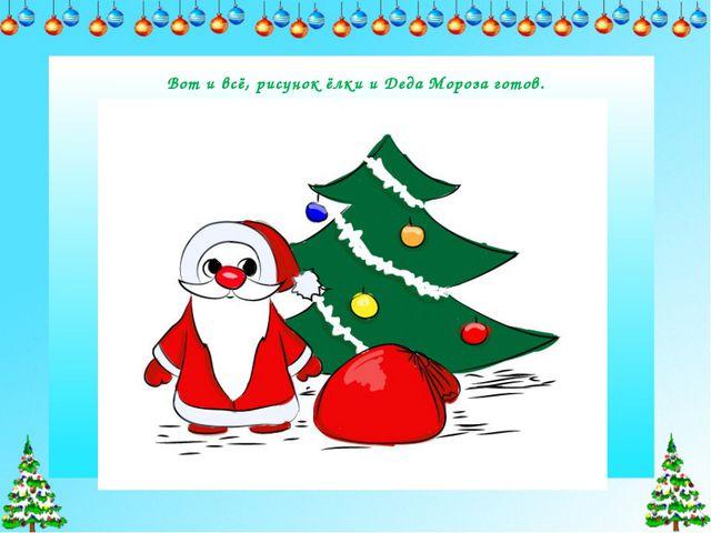 Вот и всё, рисунок ёлки и Деда Мороза готов.