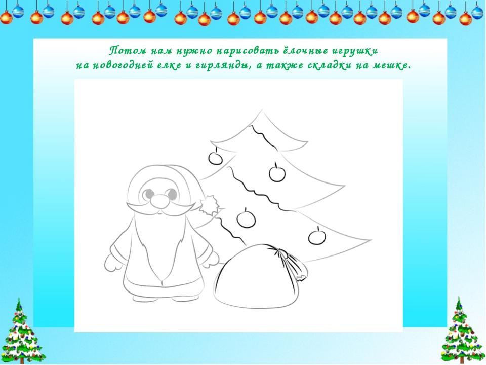 Потом нам нужно нарисоватьёлочные игрушки на новогодней елке и гирлянды, а т...