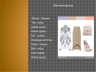 Женская одежда Blouse – блузка; Top- топик; Jacket-жакет; Shoes-туфли; Hat –