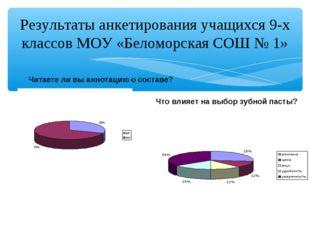 Результаты анкетирования учащихся 9-х классов МОУ «Беломорская СОШ № 1» Читае