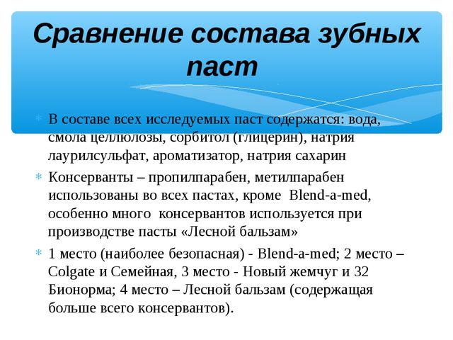 Сравнение состава зубных паст В составе всех исследуемых паст содержатся: вод...