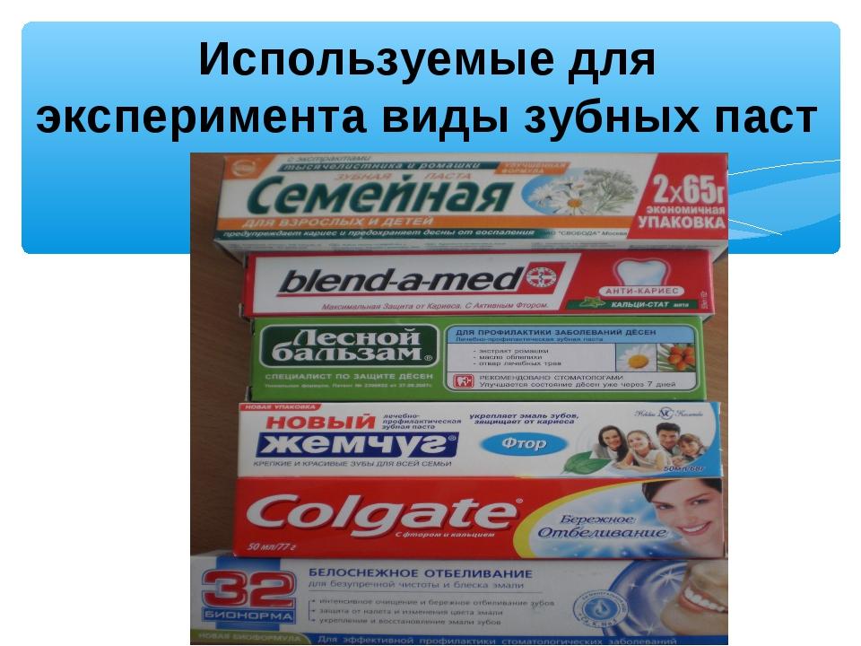 Используемые для эксперимента виды зубных паст