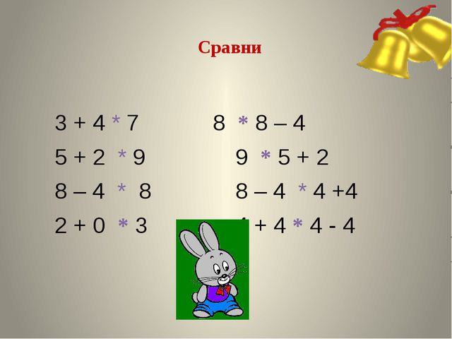 Сравни 3 + 4 * 78 * 8 – 4 5 + 2 * 9 9 * 5 + 2 8 – 4 * 88 – 4 * 4...