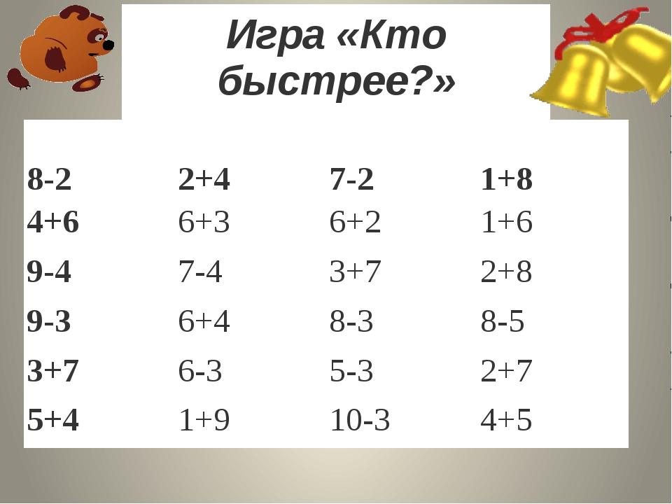 Игра «Кто быстрее?» 8-2 2+4 7-2 1+8 4+6 6+3 6+...