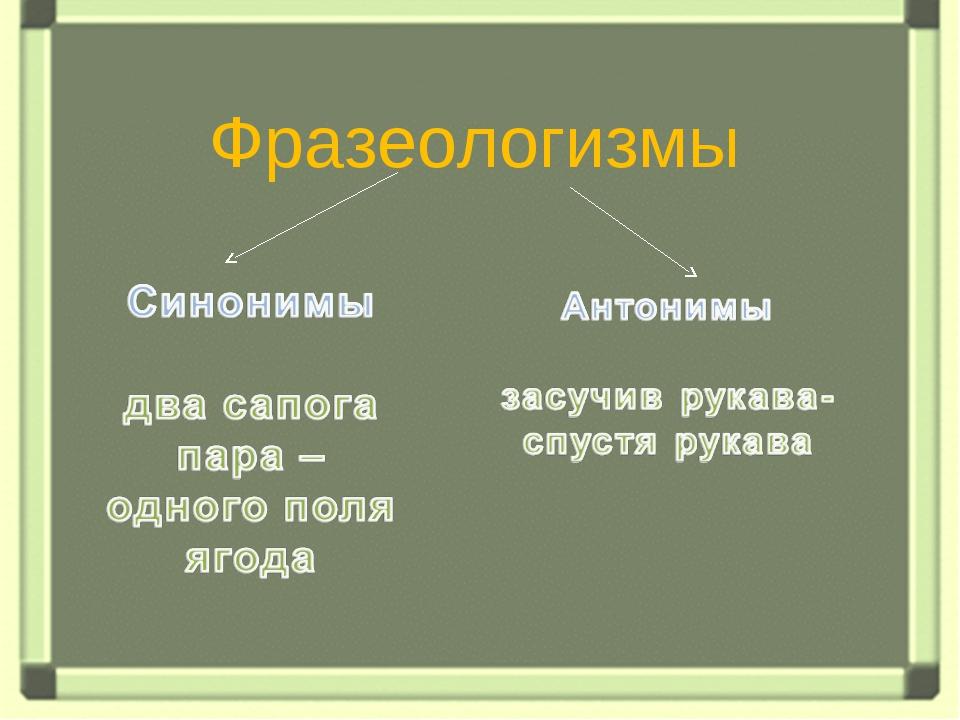 Антонимы Фразеологизмы