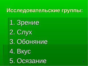 * Исследовательские группы: 1. Зрение 2. Слух 3. Обоняние 4. Вкус 5. Осязание