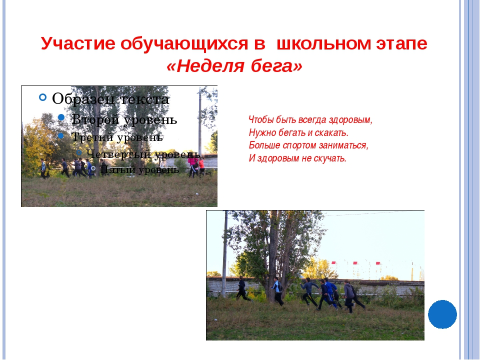 Участие обучающихся в школьном этапе «Неделя бега» Чтобы быть всегда здоровым...
