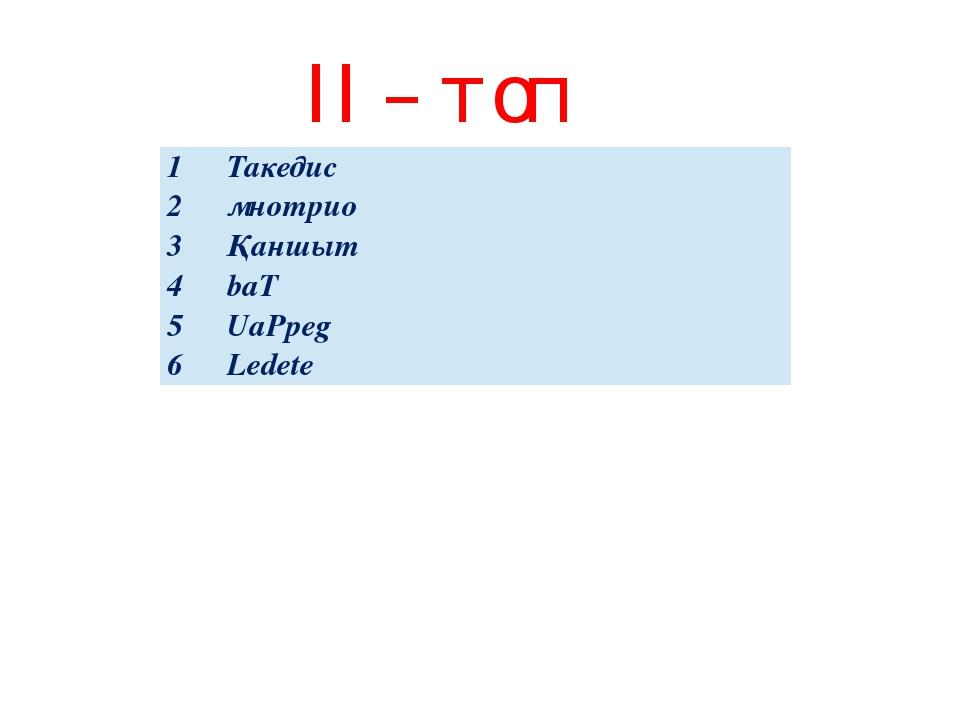 ІІ – топ 1 Такедис 2 мнотрио 3 Қаншыт 4 baT 5 UaPpeg 6 Ledete