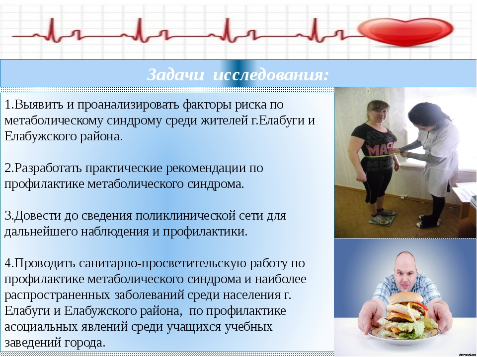 1.Выявить и проанализировать факторы риска по метаболическому синдрому среди...