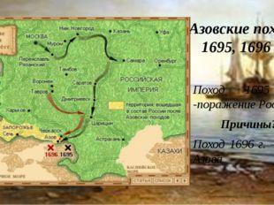 Азовские походы 1695, 1696 гг. Поход 1695 г. -поражение России Причины??? Пох