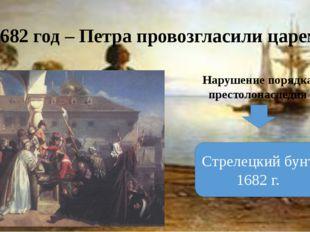 1682 год – Петра провозгласили царем Нарушение порядка престолонаследия Стрел