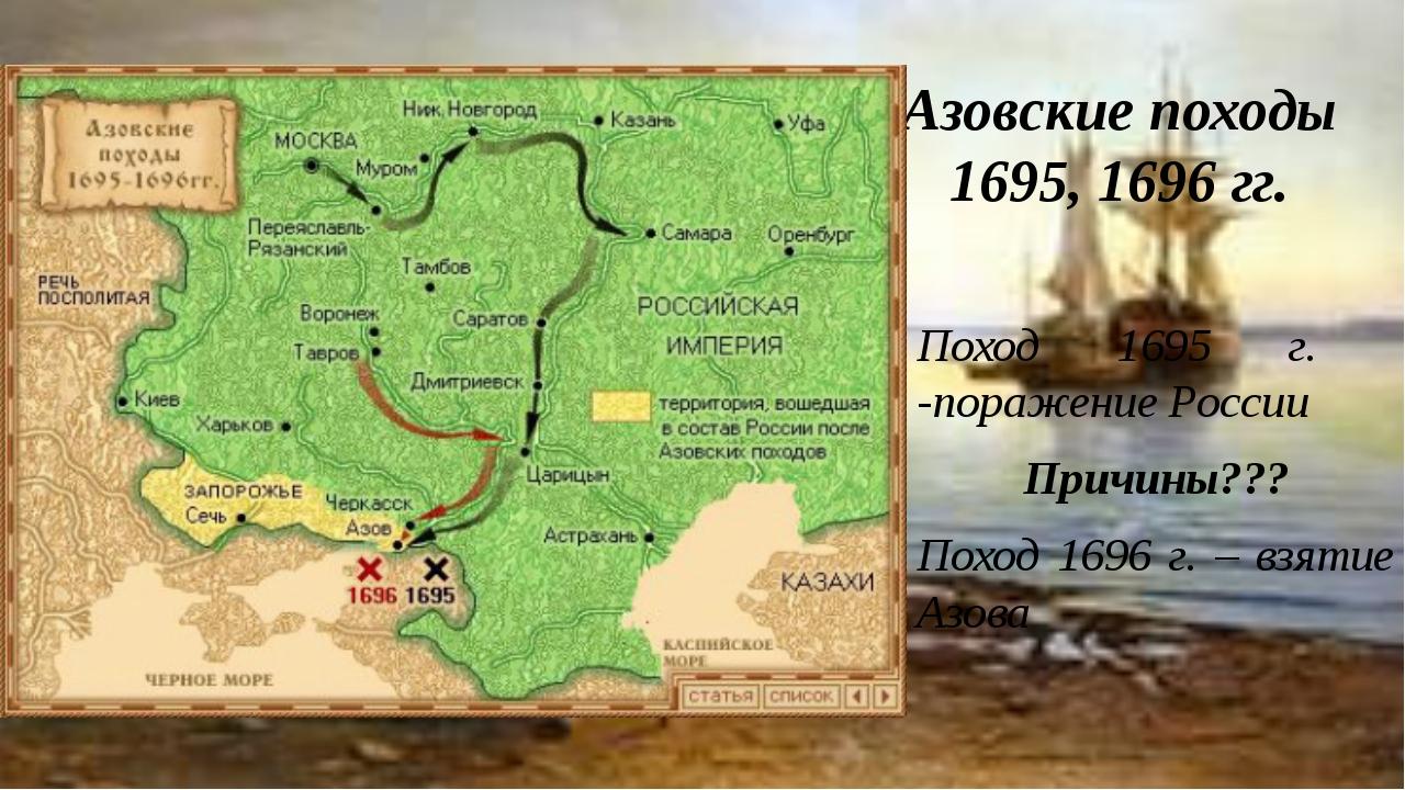 Азовские походы 1695, 1696 гг. Поход 1695 г. -поражение России Причины??? Пох...