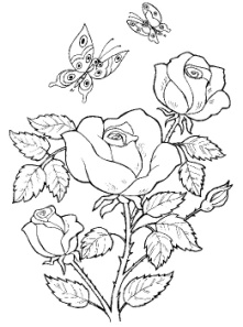 Рисунки раскраски роз в корзине