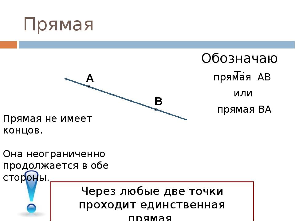 Прямая А В Обозначают: прямая АВ или прямая ВА Через любые две точки проходит...