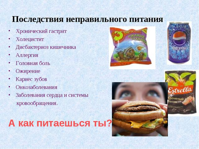 Последствия неправильного питания Хронический гастрит Холецистит Дисбактериоз...